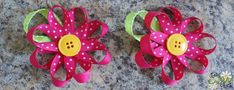Flower hair bows.  A friend of mine showed me this and it is soooo easy and they are so cute!
