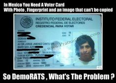 ID required to vote in Mexico.   Let us not delude ourselves, only reason Democrats block this, is so dead people can vote, people can vote more than once, and they can stuff ballot boxes.  Like the PA districts that had a) 100% votes for Obama, b) more votes than registered voters.
