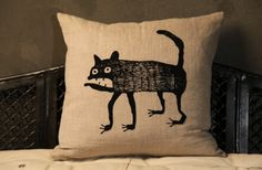"""Embroidered Pillow Cover / Cat Hand woven and embroidered linen pillow covers. Zipper enclosure. Sized for 20"""" pillows insert.  Insert not included."""