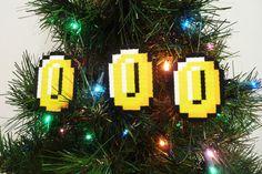 3 Mario bros. Coins Perler Bead Christmas Ornaments. $10.00, via Etsy.
