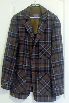 Vintage Pendleton 49er Jacket Mens 1960 Western Plaid Wool Size Medium Cowboy Counrty