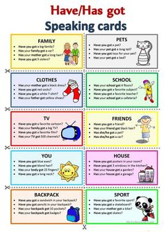HAVE HAS GOT Speaking cards worksheet Free ESL printable worksheets made by teachers Education educacion English Grammar Worksheets, Learn English Grammar, English Language Learning, English Writing, English Study, English Words, English Lessons, English Vocabulary, Teaching English