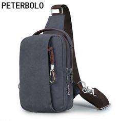 Peterbolo Men's Vintage Canvas Shoulder Bag Retro men Crossbody Bag Single-Strap chest Bag