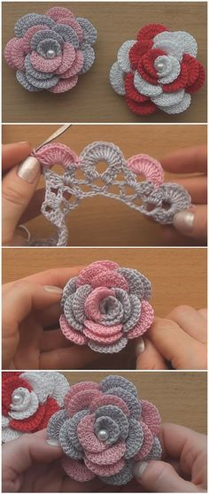 Just crochet flower roses - tejidos artesanales .,Just crochet flower roses - tejidos artesanales instructions easy baby things Make crochet quilts your self Who do. Crochet Flower Patterns, Knitting Patterns Free, Crochet Flowers, Sewing Patterns, Crochet Ideas, Easy Patterns, Jewelry Patterns, Knitting Stitches, Poncho Patterns