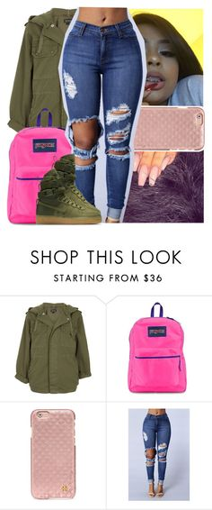 """still in the trap but i like my shawty bougie "" by theyknowtyy ❤ liked on Polyvore featuring Topshop, JanSport, Tory Burch and NIKE"