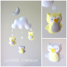 Crib mobile owls baby mobile owl mobile cloud door LoveFeltXoXo