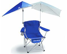 Fold-out Sport Umbrella Chair. Includes cup holder, zippered item pouch, and a bottle opener. Blue: Sports & Outdoors by Sport-Brella. Best Beach Chair, Beach Chairs, Umbrella Chair, Relax, Gift Suggestions, Gift Ideas, Outdoor Chairs, Outdoor Decor, Camping And Hiking
