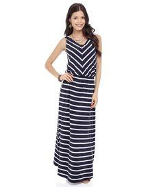 Vestido Longo Feminino Listrado - Lojas Renner
