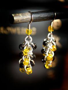 Hogwarts Collection  Beaded Shag Earrings  Hufflepuff by HowlOwl, $9.00