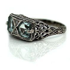 Aquamarine Engagement Ring Art Deco 3.00ctw by ArtDecoDiamonds