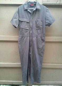 CRAFTSMAN COVERALLS  Green  Gray  Short Sleeve Mechanic Work Wear Large #Craftsman #Overalls