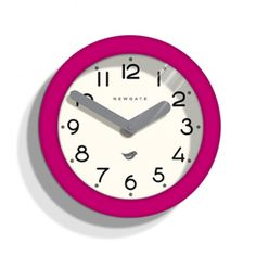 Newgate Clocks Pantry Wall Clock Hot Pink: Our most popular style the Pantry Clocks give a classic design a contemporary twist. With a white dial, clean black numerals and bold contrasting coloured hands Pantry Clocks have a matt case finish which comes in a range of colours to suite any home decor scheme. Available in five colour ways.