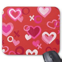 Hugs and Kisess Hearts Mousepad