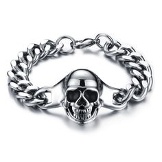 152b7ee714d Bracelet gourmette tête de mort Bracelet Acier Homme