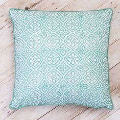 Block Print White Cover Cushion Pillow Cotton Handmade Home Decor Set of 2 Gift