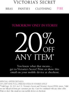 Pinned September 28th  20% off any item today at Victorias  Secret  coupon 5c8afbc19
