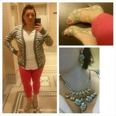 #ChubbyChique 10-30-2014 Coral crop pants and gray animal print boyfriend cardigan by #ExpressFashion , white military style long sleeveless shirt by Mossimo via #Target , peep toe heels by #Tahari , orange and green floral bib necklace by Leslie Danzis, orange and green floral drop earrings