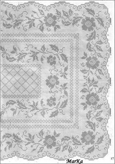 This Pin was discovered by Rut Crochet Tablecloth Pattern, Crochet Doily Patterns, Crochet Doilies, Cross Stitch Patterns, Filet Crochet Charts, Crochet Diagram, Holiday Crochet, Crochet Home, Russian Cross Stitch