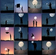 Enjoy the moon! Moon Photography, Stunning Photography, Photography Lessons, Video Photography, Creative Photography, Illusion Photos, Illusion Art, Forced Perspective Photography, Cool Pictures