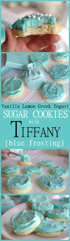 NO ROLLING and NO REFRIGERATION down time - Yummy Vanilla Lemon Greek Yogurt Moist and perfect Sugar Cookies with Tiffany Blue Frosting Recipe and Tutorial - These are SO pretty and over the top lightly lemony YUMMY! 30 minutes tops from start to your fir Greek Yogurt Frosting, Lemon Buttercream Frosting, Blue Frosting, Sugar Cookie Frosting, Sugar Cookies Recipe, Frosting Recipes, Yummy Cookies, Cookie Recipes, Dessert Recipes