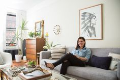 Large commanding artwork over the couch: Tamar's Girly Meets Mid-Century Studio