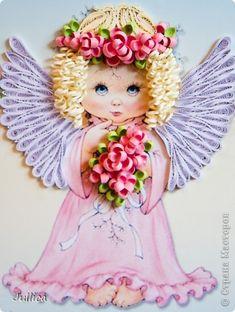Картина панно рисунок День рождения Квиллинг Ангелочки Бумажные полосы фото 3