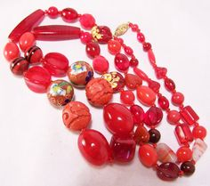Artist Made 30 Red Art Glass Necklace by GretelsTreasures on Etsy, $20.00