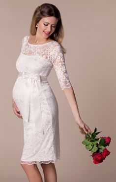 Beloved by pregnant celebrities, our bestselling Amelia lace maternity dress, fabulous in every colour, is now available in crisp ivory.