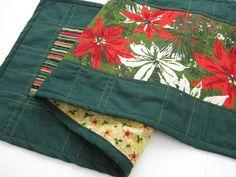 Christmas table runner, vintage fabric, modern look