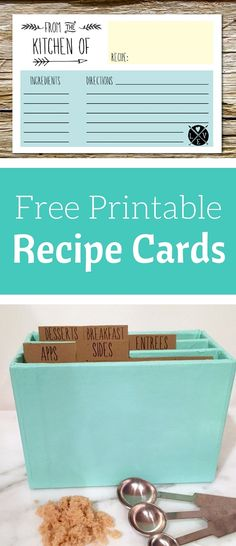 Free Printable recipe cards and recipe tab dividers. An easy diy organization idea for your kitchen.