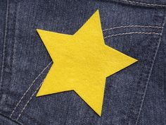Stern (Größe L) gelb Bügelmotiv Applikation 90mm von Silwarin auf DaWanda.com