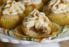Egg Nog Cupcakes with Bourbon Caramel. I might lift my ban on cupcakes for these. Cupcake Recipes, Cupcake Cakes, Dessert Recipes, Baby Cakes, Eggnog Cupcakes, Caramel Cupcakes, Caramel Frosting, Egg Nog, Christmas Desserts