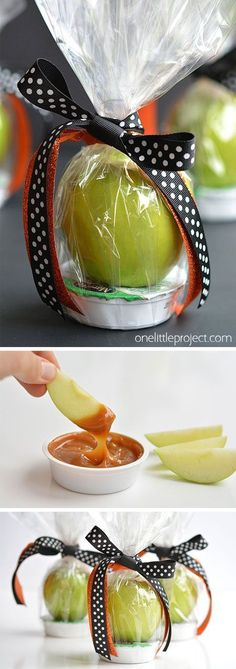 These apple and caramel fall treats are such a GREAT and healthy alternative to giving candy! They'd make fantastic teachers gifts and party favors. You could even give them out at fall birthday parties! Fall Appetizers, Halloween Appetizers, Halloween Treats, Fall Treats, Party Treats, Party Favors, Mini Caramel Apples, Apple Caramel, Apple Birthday