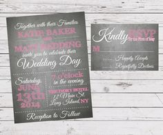 Grey Chalkboard Wedding Invitation and by SimplyExtravagantInv, $35.00