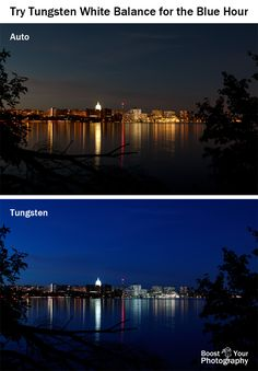 Blue Hour Photography: Try Tungsten White Balance and Boost Your Photography Dslr Photography Tips, Hobby Photography, Photography Lessons, Photoshop Photography, Photography Equipment, Photography Business, Light Photography, Photography Tutorials, Digital Photography