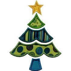 Scalloped Christmas Tree Applique by HappyApplique.com
