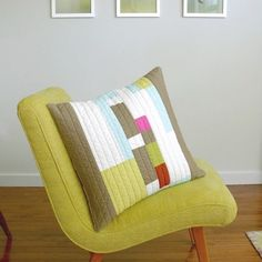 graphic and colorful patchwork pillow