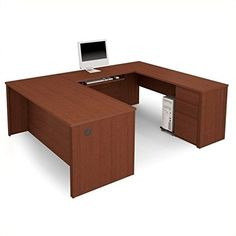 99871-69 Prestige + U-Shaped Workstation Kit with Scratch and Stain Resistant Surface in Chocolate