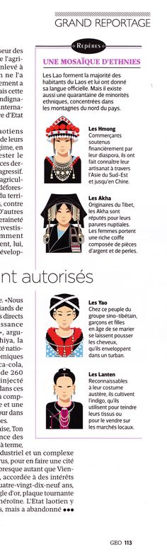 Traditional costumes in Laos, illustrations created by Hugues Piolet for GEO Magazine.