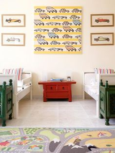 Kids' Room Decor: Fast Track  Kids can quickly outgrow themed decor; keep the car theme transitional with artistic automotive prints and a removable play mat.