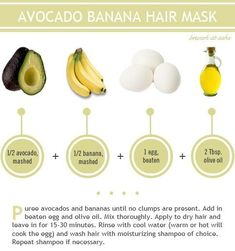 Hair mask with banana, avocado, egg and oil… Restore And Add Shine To Your Hair With These 4 Mask Options. DIY Hair mask with banana, avocado, egg and oil… Restore And Add Shine To Your Hair With These 4 Mask Options. Banana Hair Mask, Banana For Hair, Avocado Hair, Avocado Face Mask, Avocado Egg, Homemade Beauty Recipes, Homemade Masks, Homemade Facials, Beauty Hacks For Teens