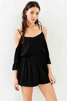 Kimchi Blue Off-The-Shoulder Romper - Urban Outfitters-rayon