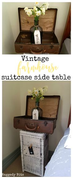 Rather than spening money on buying a side table for my daughter's bedroom I wanted to used things that we already had. Using an old suitcase and a cane basket I turned them into a Vintage Farmhouse Suitcase Side Table | See how | www.raggedy-bits.com