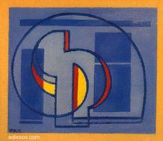"Mario Radice - Opere - ""Comp. S.P.I.R.A.N."", 1980, olio su tela, cm 34x37..."