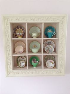 51 New Ideas For Kitchen Wall Display Tea Cups Tea Cup Display, Teacup Crafts, China Display, Room Decor, Wall Decor, Displaying Collections, Frames On Wall, Framed Wall, Decoration