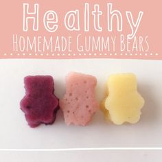 """Healthy Homemade Gummy Bears Two cups of fruit One cup of fruit juice (I used my juicer, but you can use any kind of fruit juice, it just depends on how """"natural"""" you want your gummies to be) honey"""