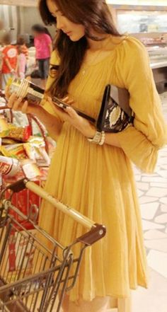 spring long yellow sleeves dress