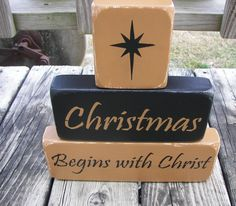 Christmas Begins With Christ, Primitive Wood Stacking Blocks, Seasonal Holiday Decor. $15.50, via Etsy.