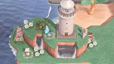 Nintendo Switch Animal Crossing, Animal Crossing Guide, Animal Crossing Wild World, Animal Crossing Villagers, Motifs Animal, Small Waterfall, Am Meer, New Leaf, Lighthouse