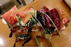 I ❤ crazy quilting & ribbon embroidery . . . CQ Pincushions closeup ~By Artist Brian Haggard